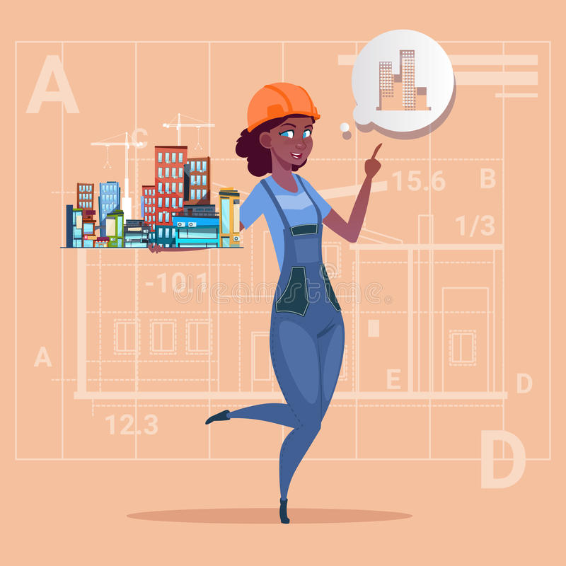 Cartoon Female Builder Holding Small House Ready Real Estate Over Abstract Plan Background African American Worker royalty free illustration