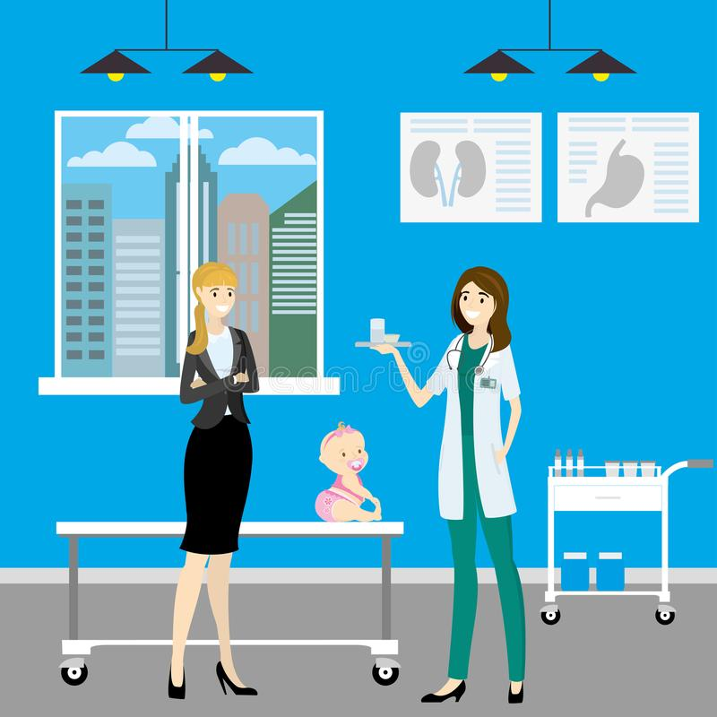 Cartoon female doctor and mother with child,hospital room,. Vector illustration stock illustration