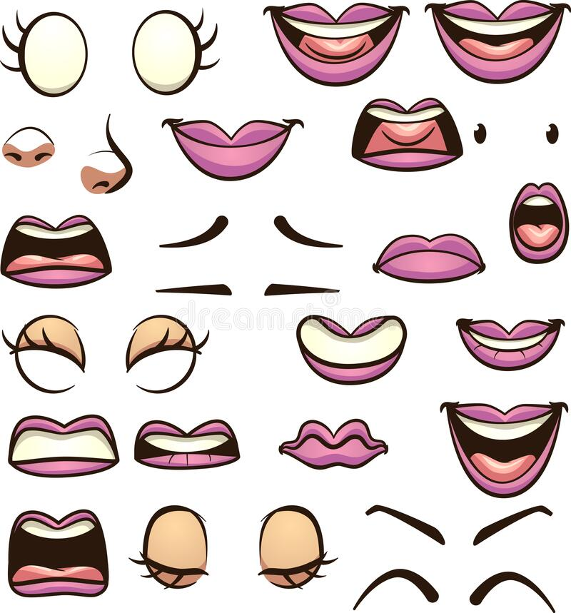 Free Cartoon Female Mouths Pronouncing Different Phonemes Stock Image - 205230561
