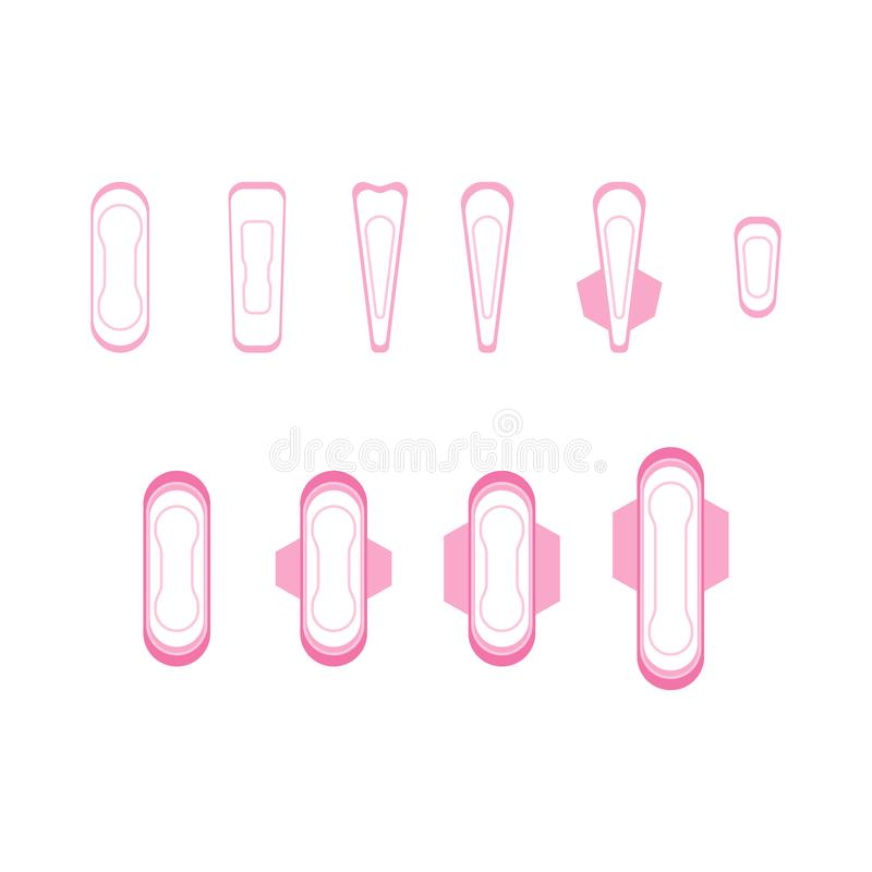 Cartoon Feminine Hygiene Products Icons Set. Vector royalty free illustration