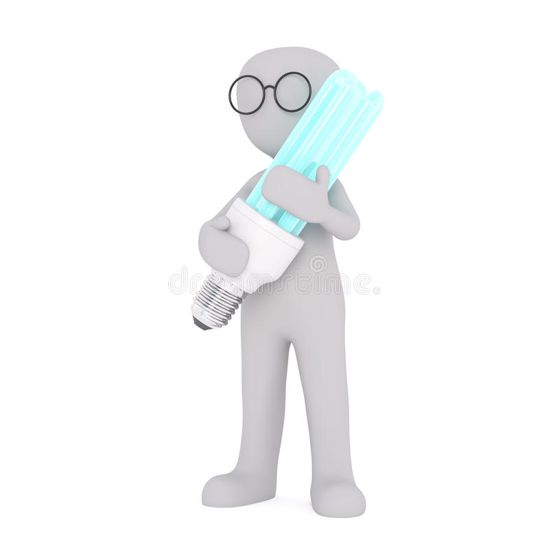 Cartoon Figure in Glasses Holding Large Light Bulb vector illustration
