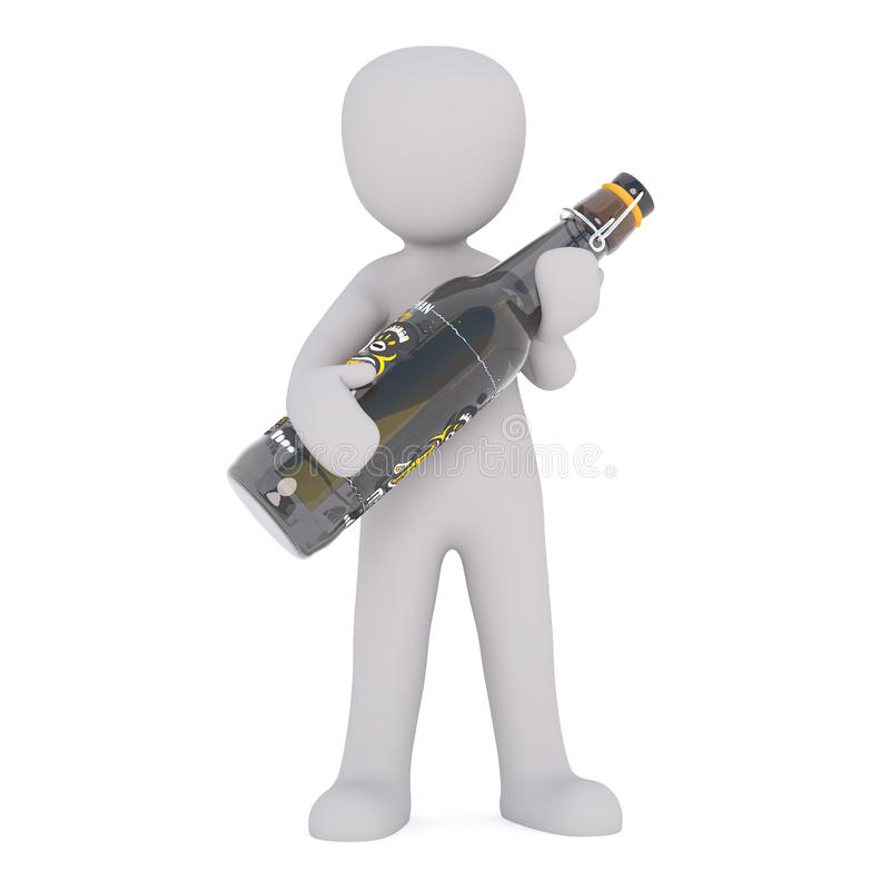 Cartoon Figure Holding Large Bottle of Beer. Generic Gray 3d Cartoon Figure Standing in front of White Background Holding Large Oversize Bottle of Beer royalty free illustration