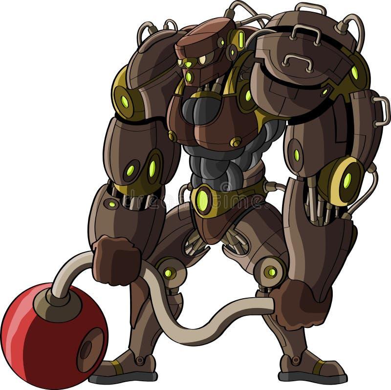Cartoon figure of a powerful robot vector illustration