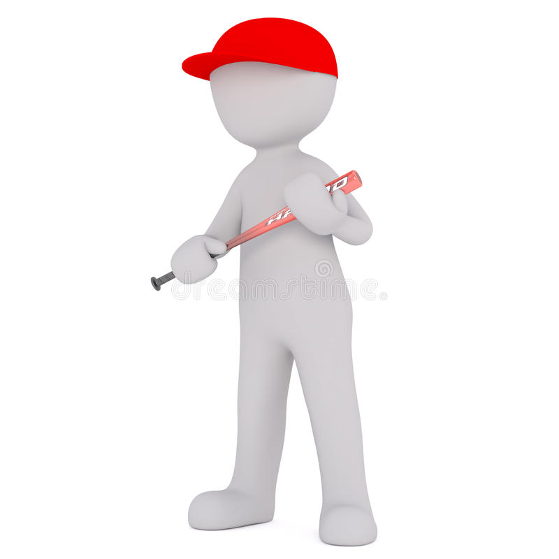 Cartoon Figure in Red Cap and Holding Baseball Bat royalty free illustration