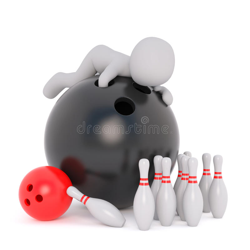 Cartoon Figure on top of Large Black Bowling Ball vector illustration