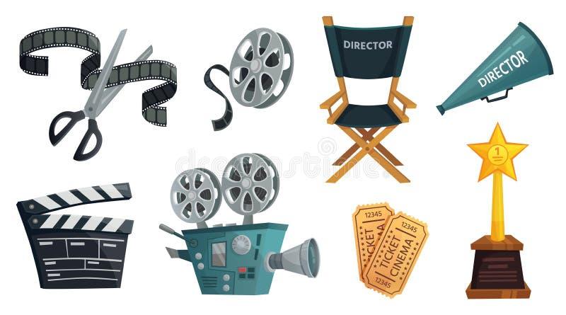 Cartoon film studio. Cinema video camera, movie clapperboard and directors megaphone vector illustration set. Cartoon film studio. Cinema video camera, movie royalty free illustration