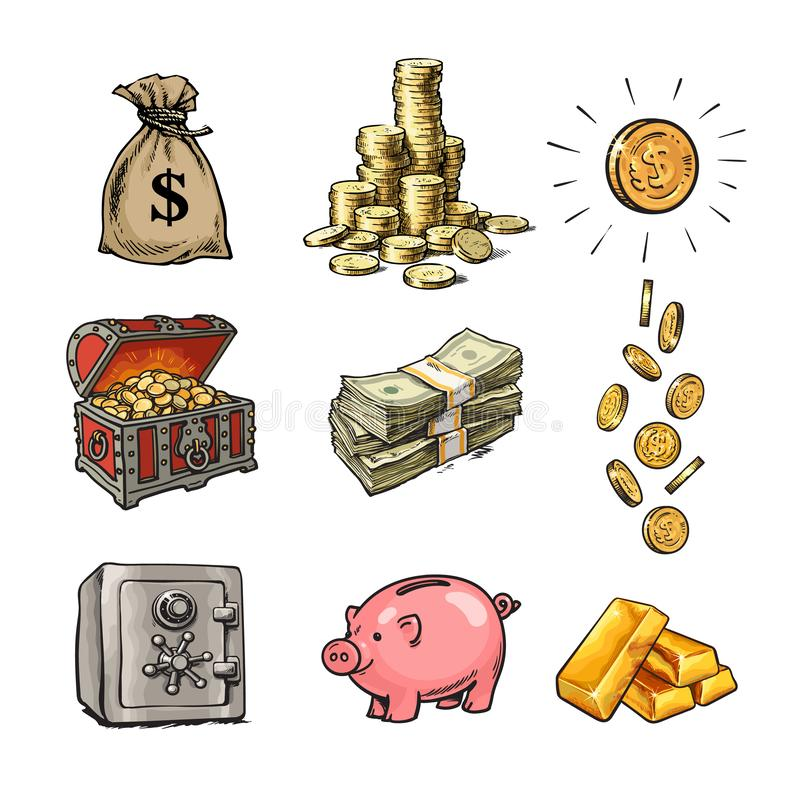 Cartoon finance money set. Sack of dollars, stack of coins, coin with dollar sign, treasure chest, paper money, falling. Coins, bank safe, piggy bank, gold bars royalty free illustration