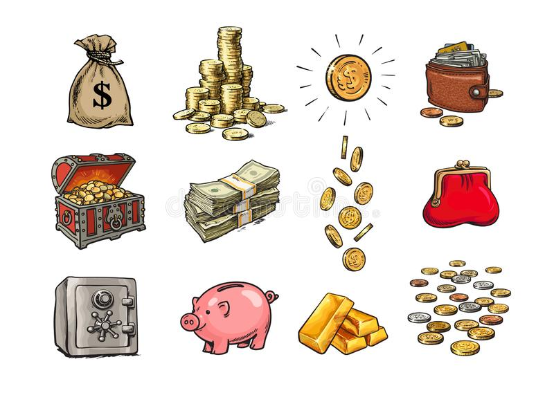 Cartoon finance money set. Sack of dollars, stack of coins, coin with dollar sign, treasure chest, stack of bills. Falling coins, bank safe, piggy bank, gold vector illustration