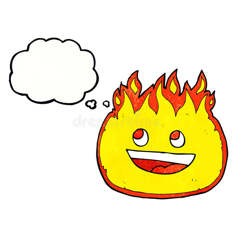 Cartoon fire border with thought bubble stock illustration