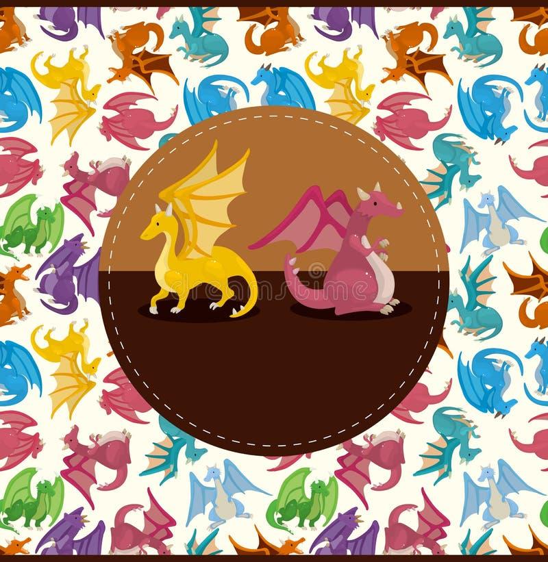 Download Cartoon fire dragon card stock vector. Illustration of legend - 21372782