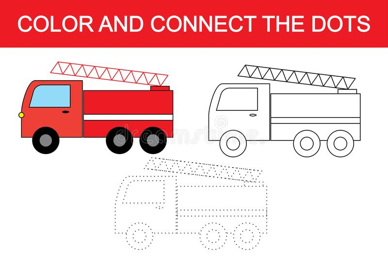 Cartoon fire escape transport. Dot to dot educational game for children. stock illustration