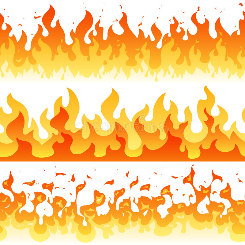 Cartoon fire flame vector seamless frame borders royalty free illustration