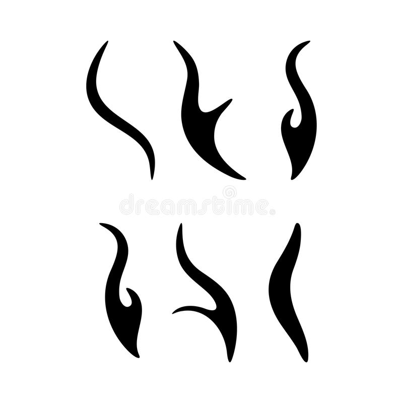 Cartoon fire sparks silhouette set design isolated on white royalty free illustration