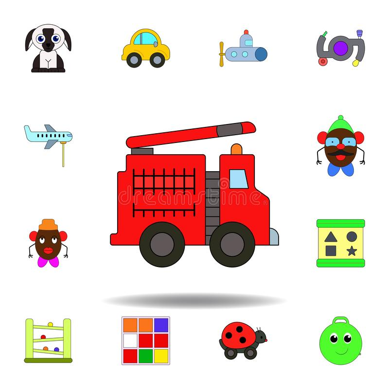 cartoon fire truck car toy colored icon. set of children toys illustration icons. signs, symbols can be used for web, logo, mobile vector illustration