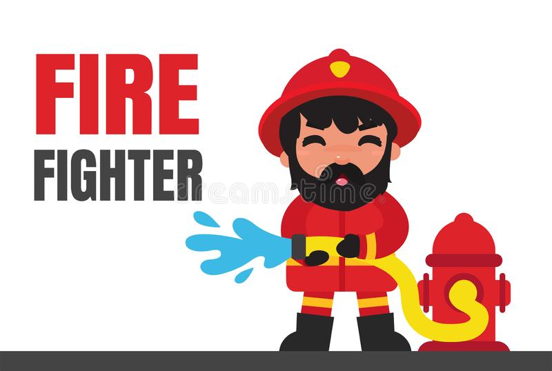 Cartoon firefighters who are extinguishing fires with high pressure.  stock illustration