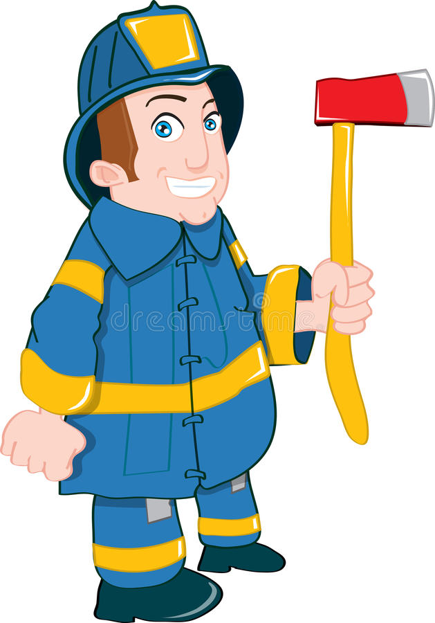 Download Cartoon fireman with axe stock illustration. Image of clip - 21448267