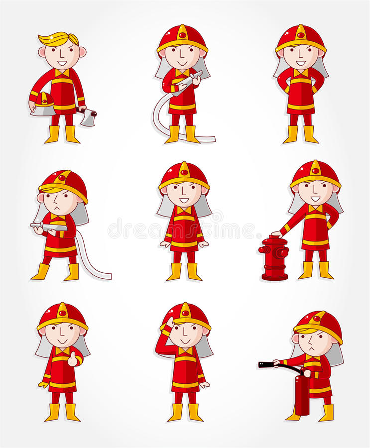 Cartoon Fireman Icon Set Stock Vector. Illustration Of