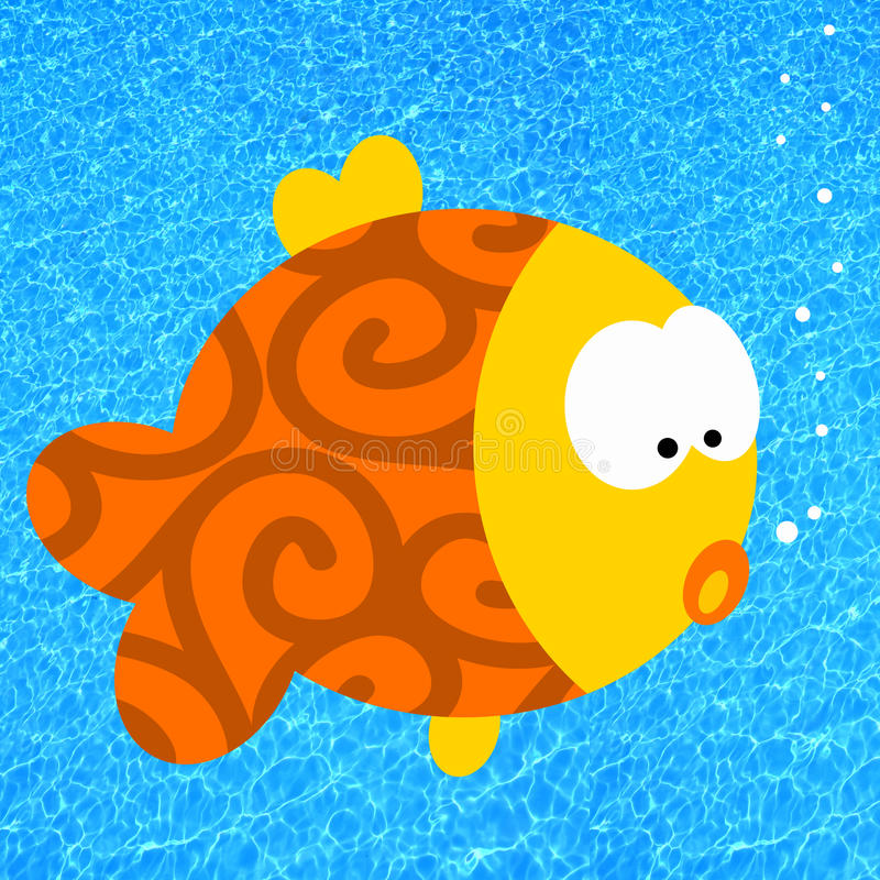 Cartoon fish. In clear blue water stock illustration