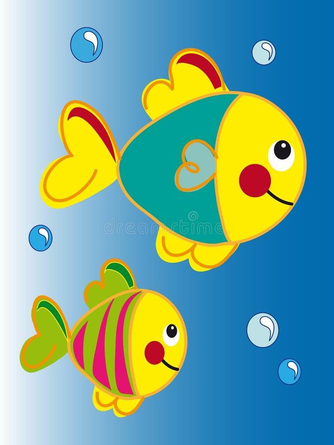 Cartoon fish. Illustration of cartoon colored fish stock illustration