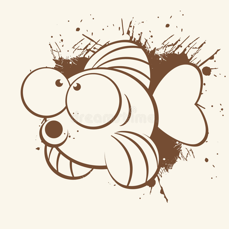 Cartoon Fish. Illustration in brown with large eyes against a grunge design, on a beige background stock illustration