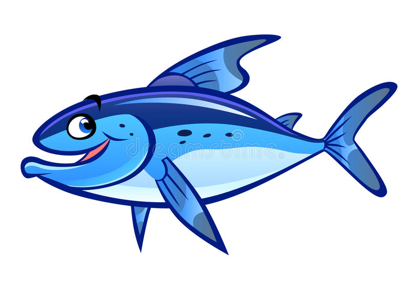 Cartoon fish. Blue cartoon laughing fish isolated on white stock illustration