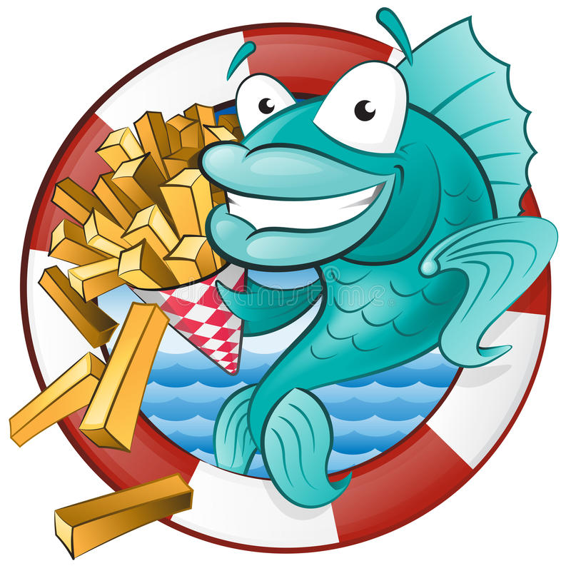 Cartoon Fish and Chips. Great illustration of a Cute Cartoon Cod Fish eating a tasty Traditional British portion of chips royalty free illustration