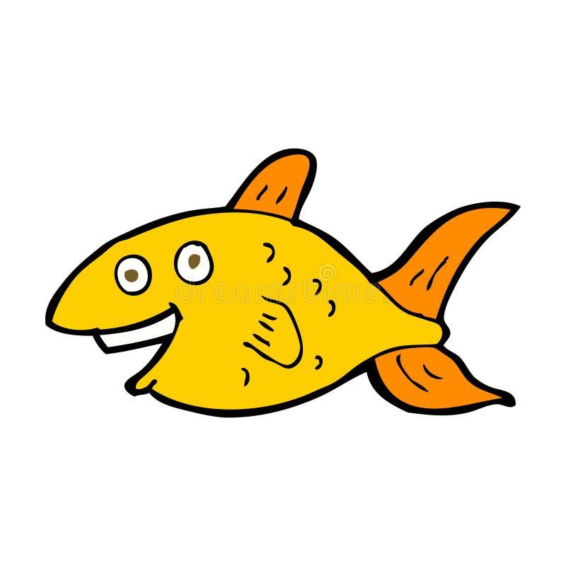 Cartoon fish. Hand drawn cartoon illustration in retro style. Vector available stock illustration