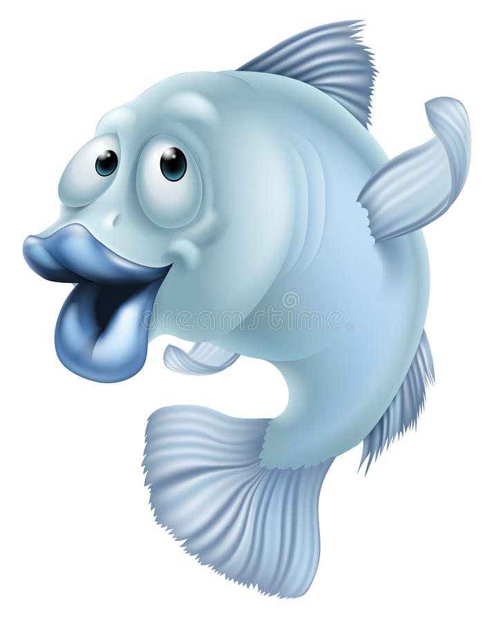 Cartoon fish. An illustration of a blue cartoon fish character mascot royalty free illustration