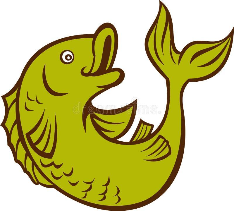 Cartoon fish jumping side. Illustration of a cartoon fish jumping side isolated on white stock illustration