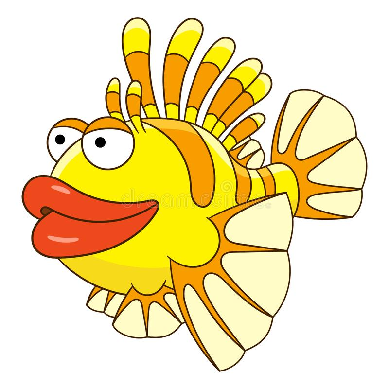 Cartoon fish lionfish stock illustration