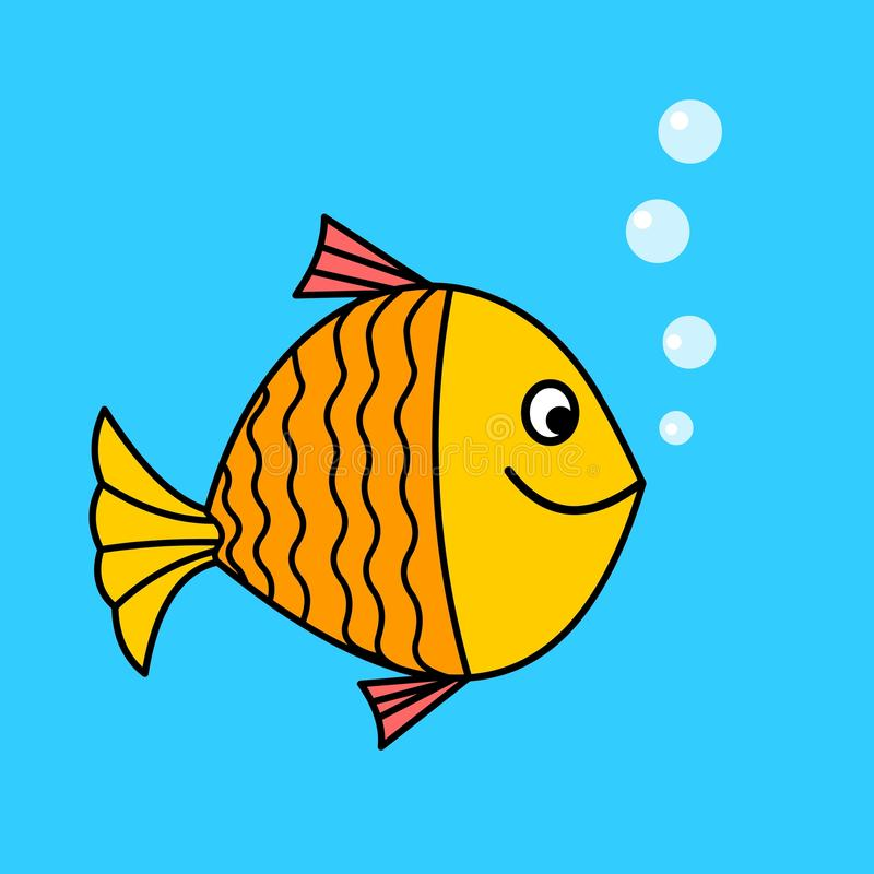Cartoon fish stock. Cartoon fish character.Happy fish cartoon illustration vector illustration