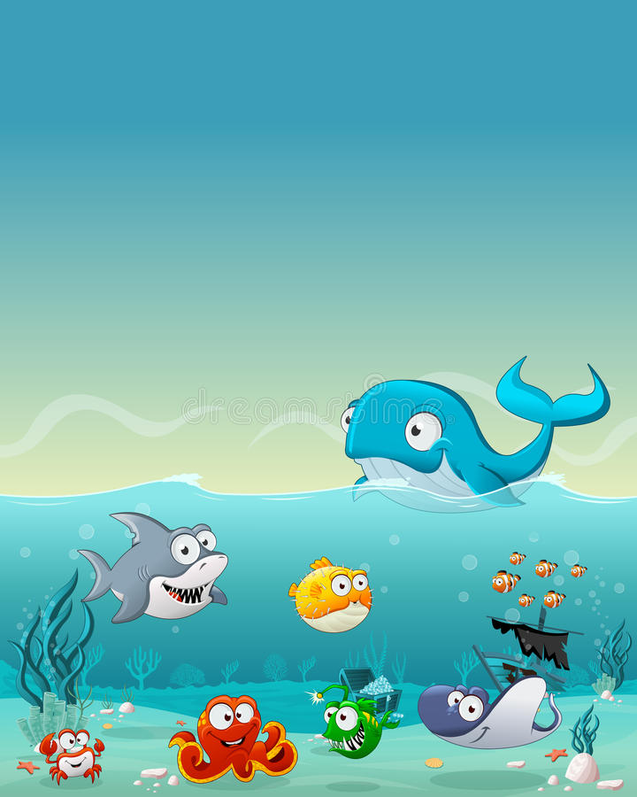 Cartoon fish under the sea. Underwater world with corals vector illustration