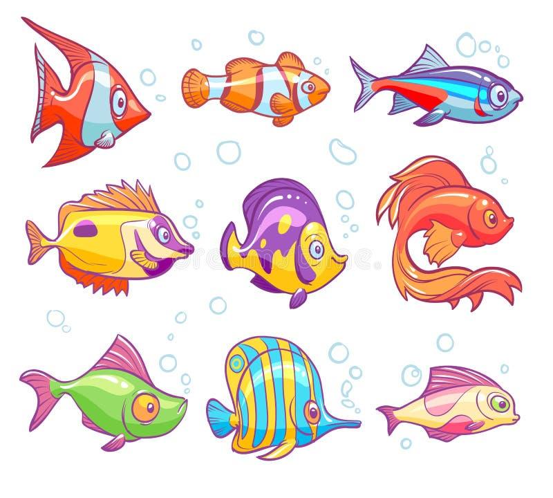 Cartoon fishes. Aquarium sea tropical fish funny underwater animals. Goldfish kids vector isolated set royalty free illustration