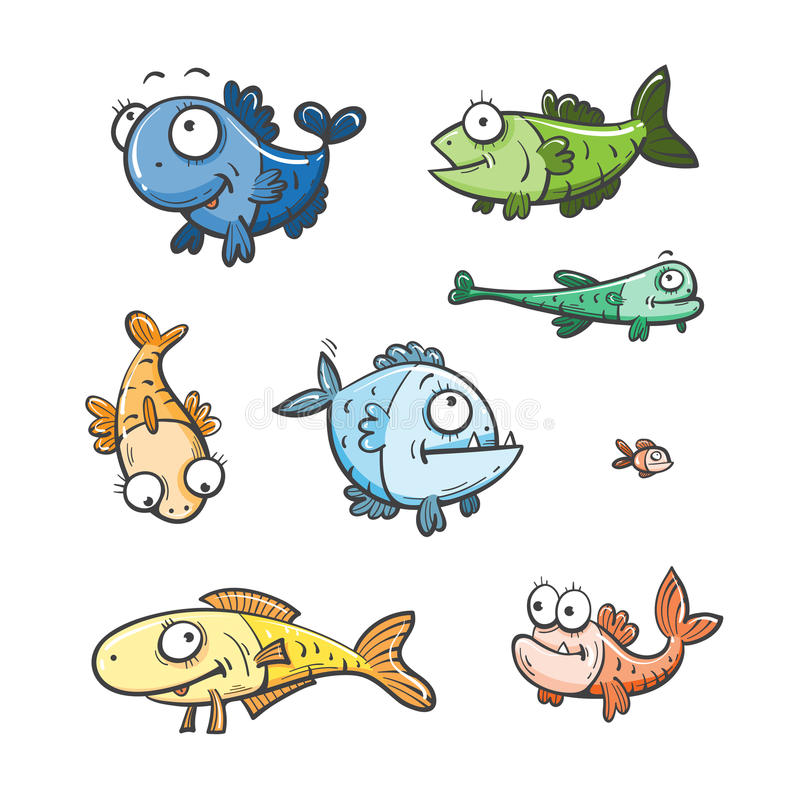 Cartoon fishes set. royalty free stock photography