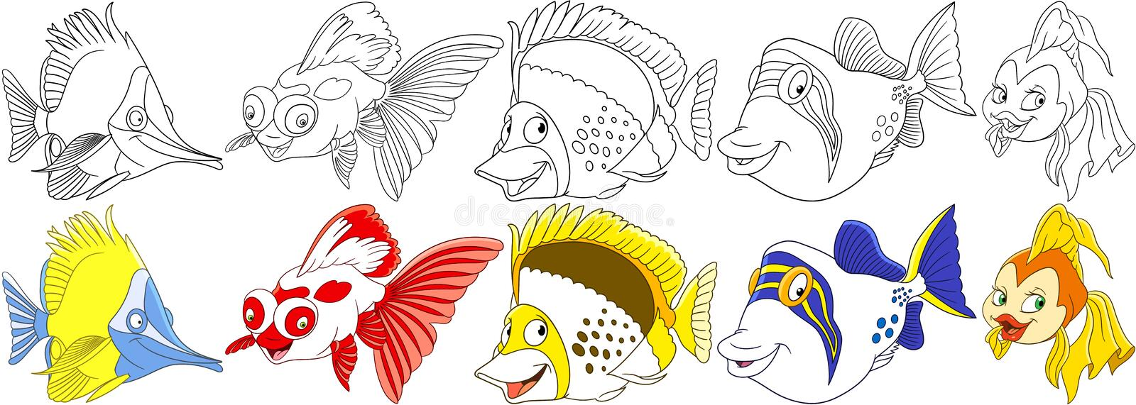Cartoon fishes set royalty free stock photos