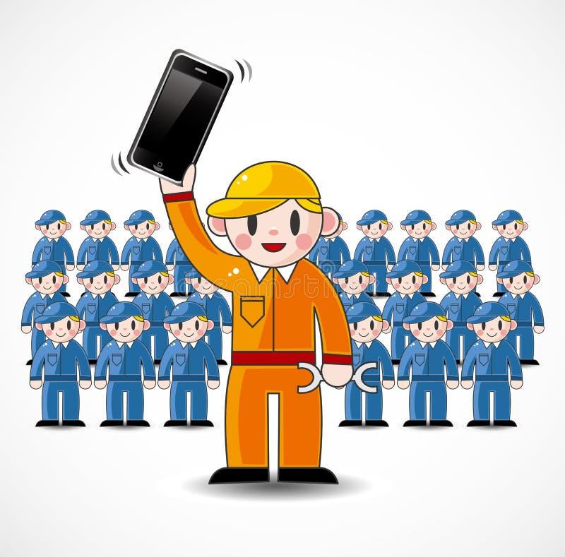 Cartoon Fix Worker Team Stock Photo