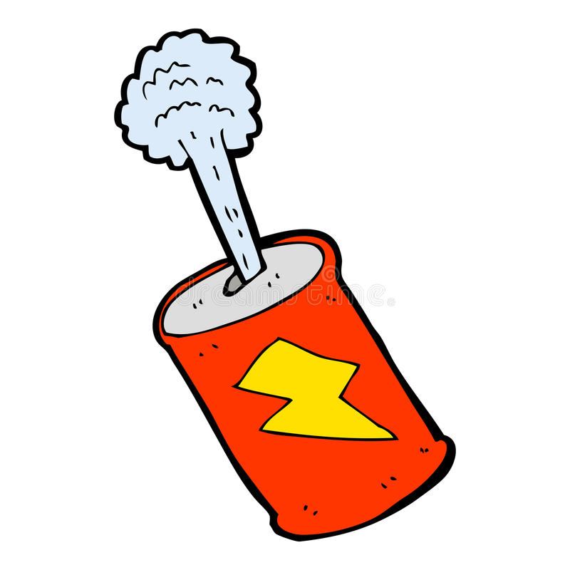 Cartoon fizzing soda can. Hand drawn cartoon illustration in retro style. Vector available stock illustration