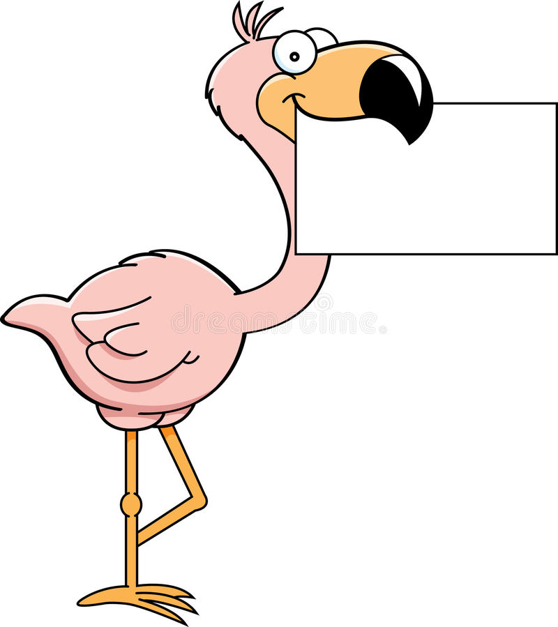 Cartoon Flamingo With A Sign Stock Vector - Illustration ...