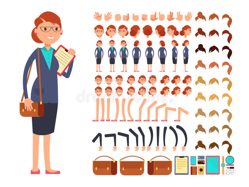 Cartoon flat businesswoman vector character constructor with set of body parts and different hand gestures royalty free illustration