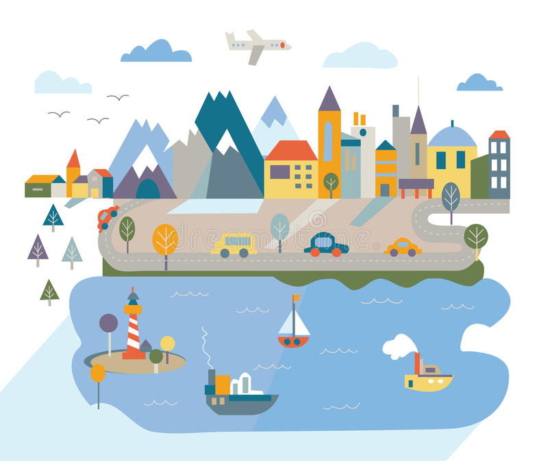 Cartoon flat city with river and mountains vector illustration