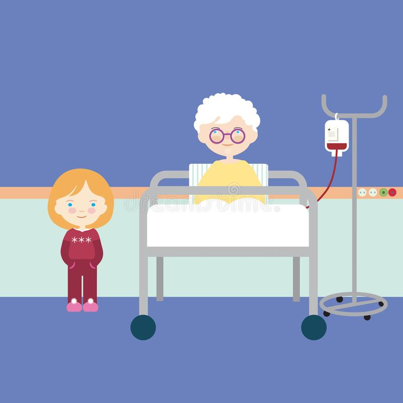 Cartoon flat design illustration of old and sick woman lying on bed in hospital. Granddaughter or young girl visiting, vector royalty free illustration