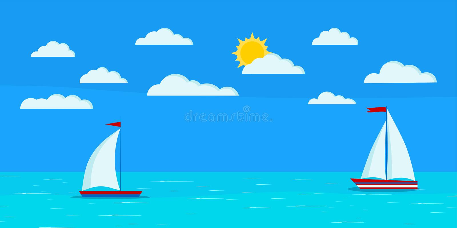 Cartoon flat design style sea landscape with two sailboats, clouds, blue sky, sun, calm ocean. Vector summer day banner illustration for tourist, traveling vector illustration