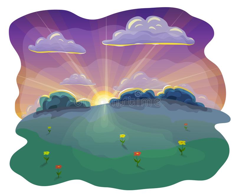 Cartoon or flat evening landscape background at sunset. sunset scene in nature with beautiful evening sky and clouds, green hills. Flat or cartoon camping royalty free illustration
