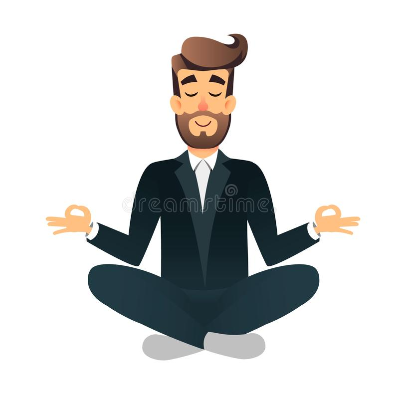Cartoon flat happy office manager sitting and meditating. Illustration of handsome businessman relaxed calm in lotus pose. Man Yog stock illustration