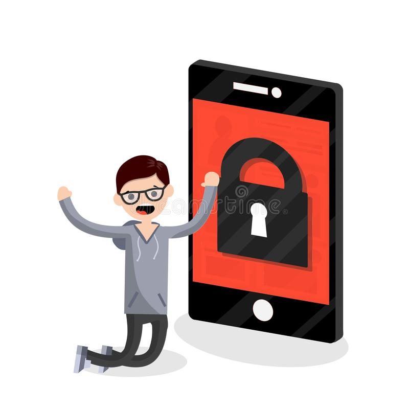 Cartoon flat illustration - the guy nerd is on his knees in front of a large phone. stock illustration