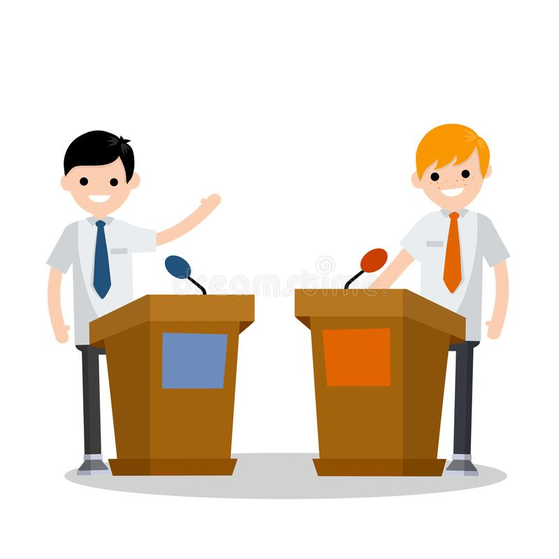 Cartoon flat illustration - two guys in the stands discussion. Men`s political debate. guys in shirt. state elections. Discussion of important cases. red vs vector illustration