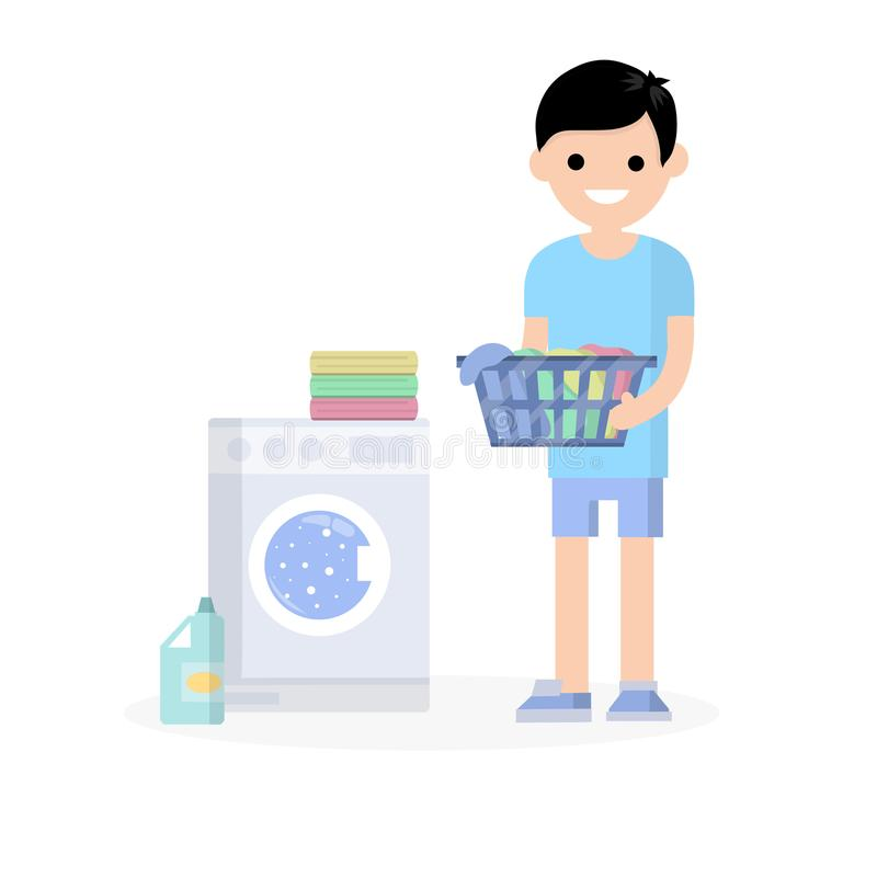 Cartoon flat illustration - a young guy in a blue short. Guy standing with folded clothes in his hands. doing Laundry with a washing machine and cleaning royalty free illustration
