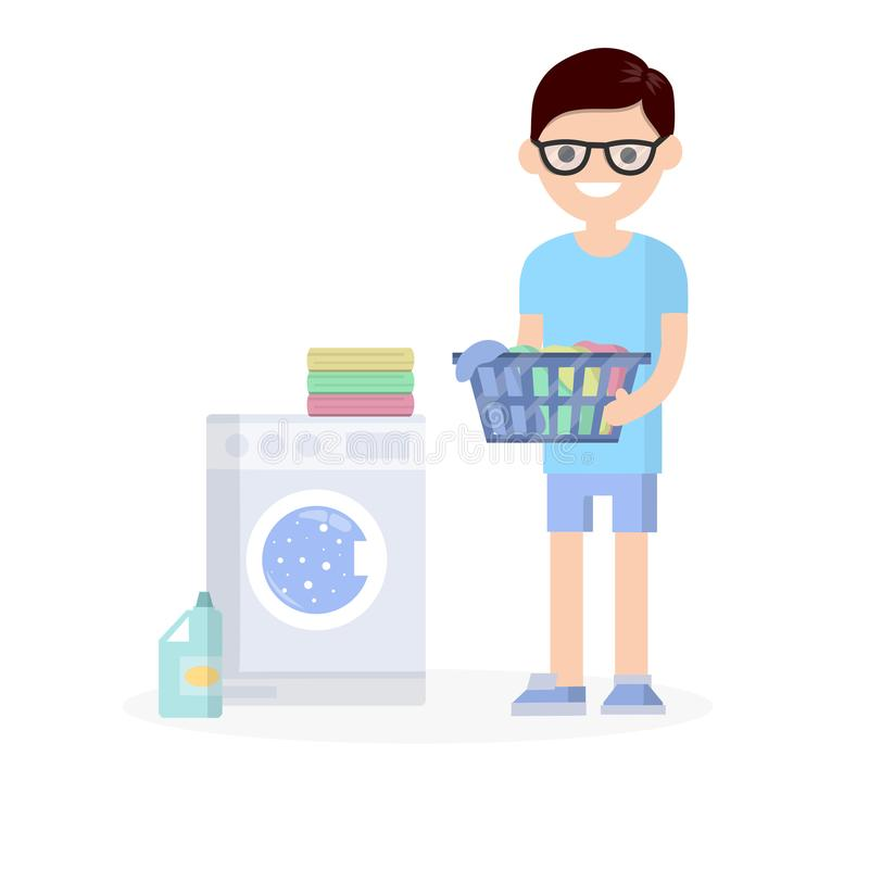 Cartoon flat illustration - a young nerd guy in a blue dress. Guy in glasses is standing with folded clothes in his hands. doing Laundry with a washing machine royalty free illustration