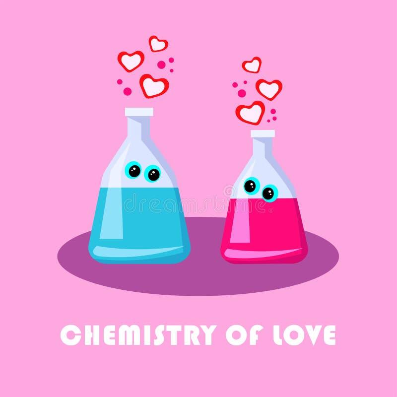 Cartoon Flat Inscription Chemistry of Love Vector. vector illustration