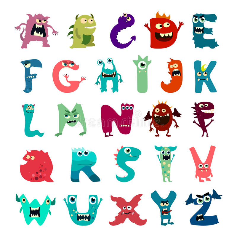 Cartoon flat monsters alphabet big set icons. Colorful monster kids toy cute monsters tongue. Vector vector illustration